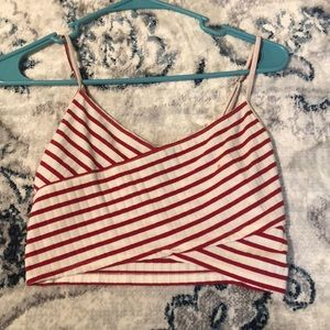 Red Striped Cropped Tank